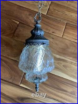 Vintage Swag Clear Glass Hanging Light & Chain Mid-Century Modern Lamp Pendant