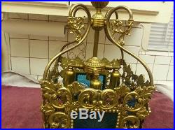 Vintage Swag Gold Lamp Light Retro Square Hollywood Regal Ceiling Hanging Chain