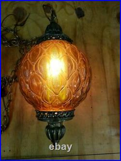 Vintage Swag Hanging Amber Round Glass Globe Light Lamp With Chain