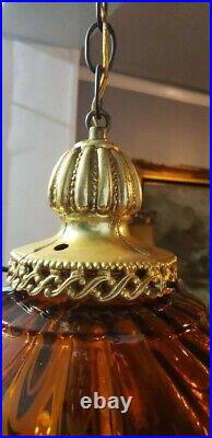 Vintage Swag Hanging Lamp with Amber Glass Shade