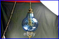 Vintage Swag Hanging Light/Lamp Blown Blue Swirl Glass Bronze Hardware Home Ligh