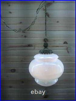 Vintage Swag Hanging Light Lamp Opal Iridescent Pearl Fixture