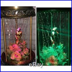 Vintage Swag Hanging Light Rain Oil Nude Lady Goddess Pillar Lamp (brass bowls)
