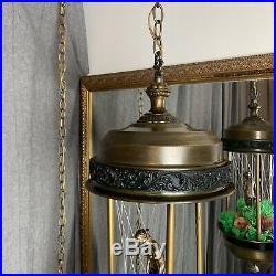 Vintage Swag Hanging Light Rain Oil Nude Lady Goddess Pillar Lamp (metal bowls)