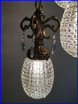 Vintage Swag Hanging Pendant Light Lamp Fixture Clear Glass Globe 3 Tier MCM