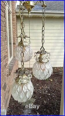 Vintage Swag Hanging Pendant Light Lamp Fixture Clear Glass Orb Globe 3 Tier