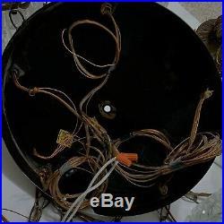Vintage Swag Hanging Pendant Light Lamp Fixture Cracked Ice Globe 5 Tier