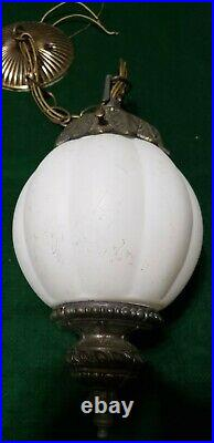 Vintage Swag Hanging White Round Glass Globe Light Lamp With Chain. (set Of Two)