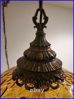 Vintage Swag Lamp Amber Glass Drape Pattern Hanging Light Mid Century Plug In
