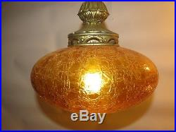 Vintage Swag Lamp BOHO Gold Crakle Hanging Light Italian Art Glass Rewired Retro