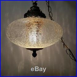 Vintage Swag Lamp Clear Crackle Glass Hanging Light