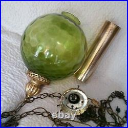 Vintage Swag Lamp Large Green Glass Ball Brass Gold Finial Hanging Light MCM 23