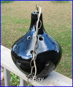 Vintage Swag Lamp MCM Hanging Light Black Atomic Space Age Ceramic Globe 2
