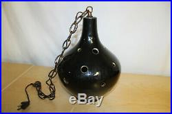 Vintage Swag Lamp Mid Century Atomic Hanging Light Pierced Ceramic Pottery Globe
