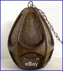 Vintage Swag Lamp Mid Century MCM Boho Hanging Wood Wicker Rattan Light Works