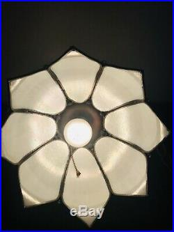 Vintage Swag Light White Stained Glass Tulip Hanging Lamp Fixture