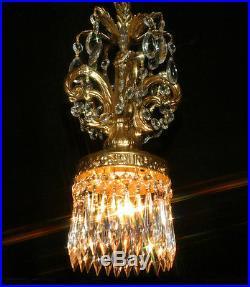 Vintage Swag Plug in ROCOCO hanging brass plt lantern Lamp Crystal Chandelier