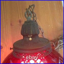 Vintage Swag Red Glass Hanging Light with Chain Mid-Century Modern Lamp Pendant