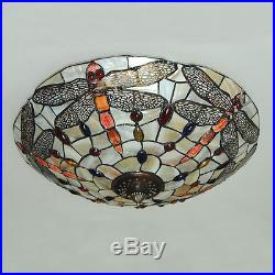 Vintage Tiffany Dragonfly Stained Glass Ceiling Light Hanging Pendant Lamp