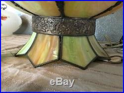 Vintage Tiffany Style Green Tulip Stained Glass Lamp Shade Swag Ceiling Hanging