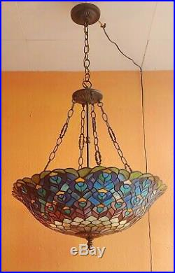 Vintage Tiffany Style Hanging Stained Glass Peacock motif Ceiling Light Lamp
