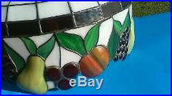 Vintage Tiffany Style Lead Hanging Stained Glass Ceiling Light Lamp Shade