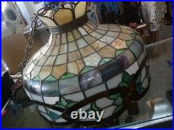 Vintage Tiffany Style Stained Glass Hanging Ceiling. Chandelier Lamp Large 20