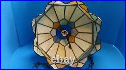 Vintage Tiffany Style Stained Glass Leaded Slag Glass Hanging Light Lamp Shade