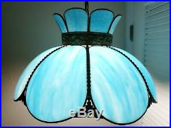 Vintage Tiffany Style Stained Slag Glass Hanging Ceiling Light Fixture Swag Lamp