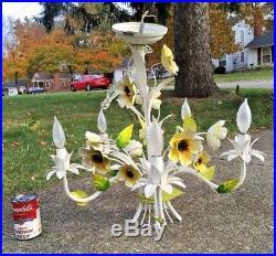 Vintage Toleware Metal Floral Leaf Hanging Chandelier 5 Light Lamp
