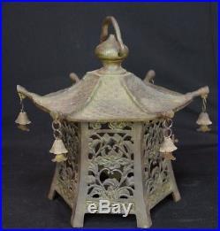 Vintage Toro Japanese hanging garden lamp bronze 1900's Japan craft
