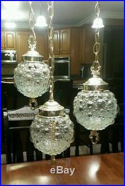 Vintage Triple Swag Lamp Bubble Glass Hanging Lamp Light Fixture