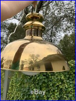 Vintage Troy Lighting Hanging Brass Lamp Mid Century Modern Pendant Chandelier