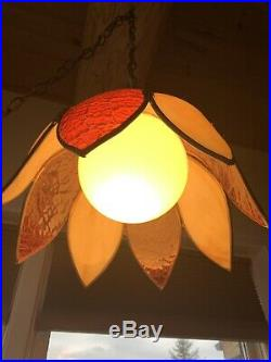 Vintage Tulip Stained Glass Ceiling Hanging Swag Lamp Light
