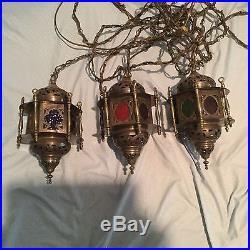 Vintage Turkish Hanging Lamp Lights Lanterns Multi-Colored Glass Moroccan