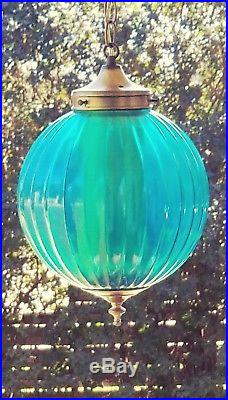 Vintage Turquoise Blue Glass Ribbed Shade Hanging Swag Lamp Light