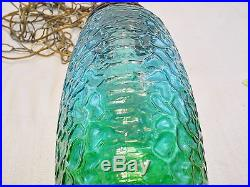 Vintage Turquoise/Green Glass Cylinder Hanging Swag Lamp