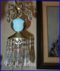 Vintage Turquoise aqua blue glass globe tole Brass SWAG lamp lantern chandelier
