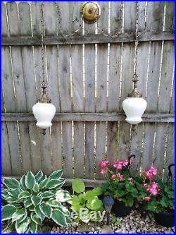Vintage VV France Double Hanging Swag Lights, swag lamp, pendant light