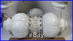 Vintage Vanity Bathroom Light Set Hanging Swag Lamps +Wall Fixture Glass Globes