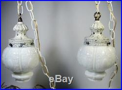 Vintage Vanity Bathroom Light Set Hanging Swag Lamps +Wall Fixture Glass Globes