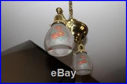Vintage Victorian 2 Light Chandelier Brass Hanging Ceiling Antique Fixture Lamp