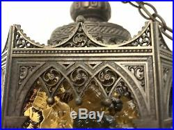Vintage Victorian Brass Swag Hanging Pendant Lamp Lantern Stained Glass