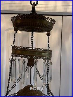 Vintage Victorian Crystal Hanging Brass Floral Parlor Kerosene or Oil Lamp