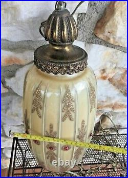 Vintage Victorian Gothic Hollywood Regency Gold Red Hanging Swag Lamp Light WOW
