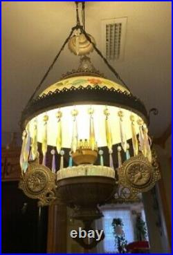 Vintage Victorian Hanging Brass Lamp Painted Shade Electrified Peacock Design