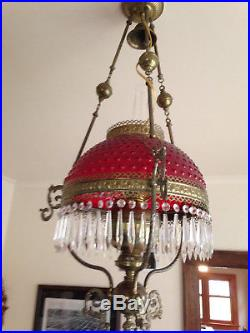 Vintage Victorian Hanging Kerosene Lamp early 1900s hobnail light oil brass