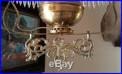 Vintage Victorian Hanging Library Oil Lamp with Puffy Glass Grape Shade, 70 Prisms