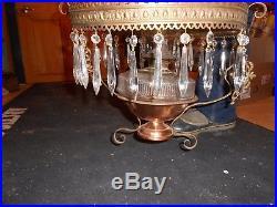 Vintage Victorian Hanging Library, Parlor Kerosene Lamp