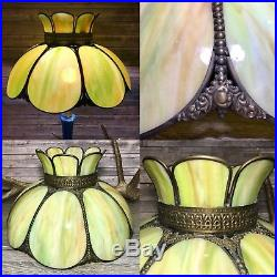 Vintage Victorian Slag Stained Glass Hanging Ceiling Light Table Lamp Shade